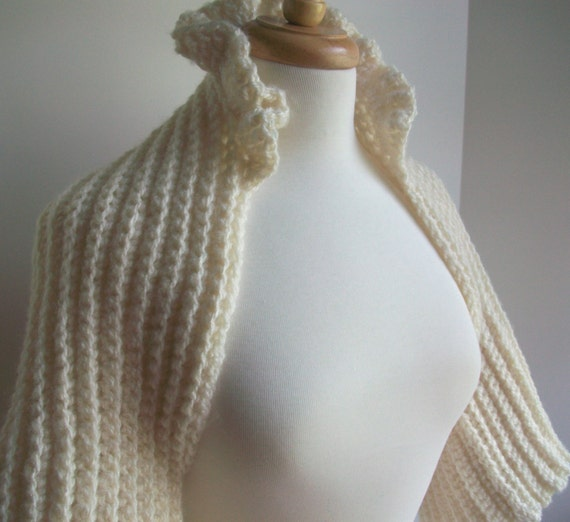 Ivory Shrug Bridal Wrap Sweater Bolero Honeymoon Cruise Wear Ruffled Stand Up Collar