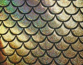 Gold Large Fish Scale Mystique Lycra Fabric