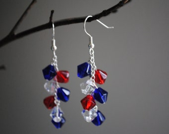 Patriotic crystal earrings