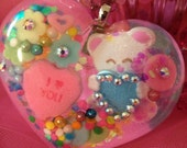 Beary Sweet Candy Heart Resin Necklace
