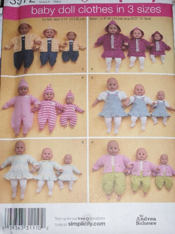 UNCUT, Simplicity 3572, Baby Doll Clothes in 3 Sizes, 12-14 in., 16-18 in., 20-22 in., Shirt, Skirt, Jacket, Tights, Dress, Overalls, Hat