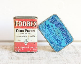 Collectible Antique Tins, Forbes Curry Powder and EdgeworthTobacco