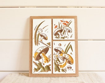 Vintage Chalkware Wall Hanging, Forest Mushrooms
