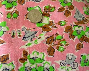 Vintage  Feedsack Fabric - ADORABLE Pink Background with Little Girls, Carriages, Hot Air B  &  Sailboats in Lime Green - 36 x 44