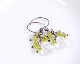 Peridot Crystal Earrings, Gemstone Drop Dangle Earrings,  Oxidized Sterling Silver August Birthstone Jewelry Under 30