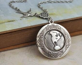 silver locket necklace, silver map locket, silver globe locket necklace, antique silver globe locket necklace