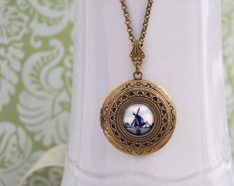 OLD LANDSCAPE LOCKET antiqued brass necklace with vintage Dutch ceramic windmill or sailboat cabs