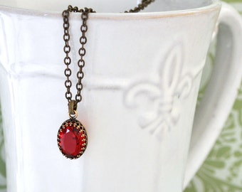 VAMPIRE TEARS antiqued brass vintage glass jewel necklace
