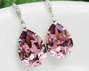 Bridal Earrings Bridesmaid Earrings cubic zirconia ear wires and Antique Pink Swarovski Crystal Tear drop dangle earrings wedding jewelry