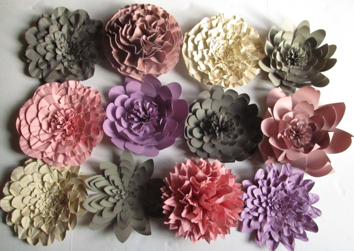 Weddings Large Paper Flowers Great For Backdrop Twelve 10 Inch