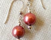 Brown Cultured Pearl Earrings