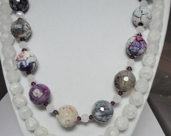 SALE!!! Neckace & Earring 3 Piece Set, Beautiful Faceted Agate And Crystal Beads in Awesome Shades Of Purple, Lavender White