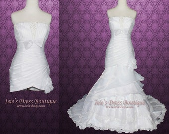 Convertible Fit and Flare Organza Tiered Wedding Dress Detachable Skirt FY130303
