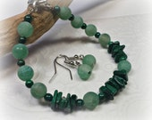 Cracked Green Agate and Malachite Bracelet with Earrings Green with Envy, Emerald Green