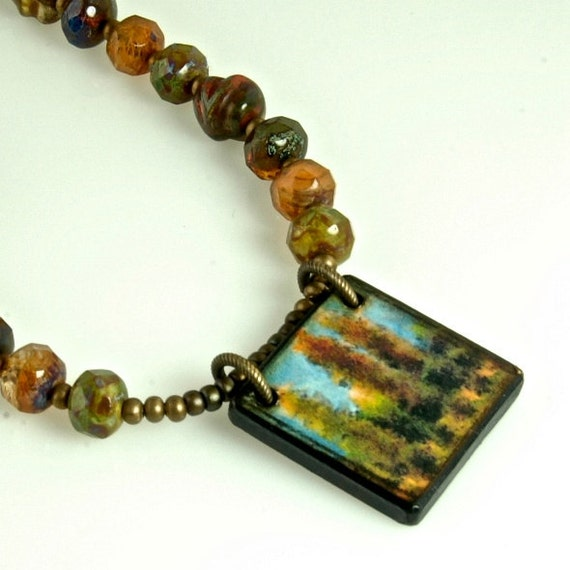 Closeout SALE Tall Trees, Nature, Art Wood Tile and Art Lamp Work Glass, Artisan Necklace ENN113