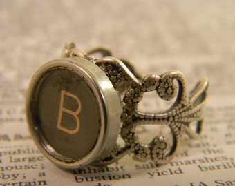 Typewriter Key Cuff Ring Letter B, Authentic, Vintage