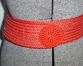 80's Wide Tomato  Red Raffia Woven Belt SALE