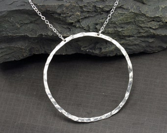 Large Circle Necklace, Hammered Sterling Silver Circle Pendant Necklace, Statement Necklace