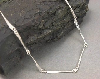Hammered Sterling Silver Chain - Handmade silver chain bright polished hand hammered silver bar chain  Nickel free Argentium silver necklace