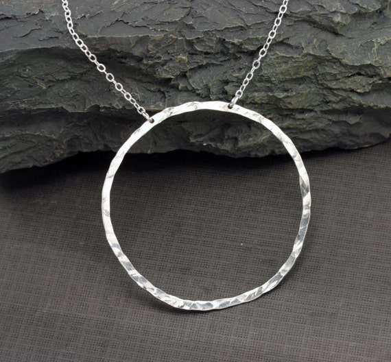 large circle necklace hammered sterling silver circle pendant