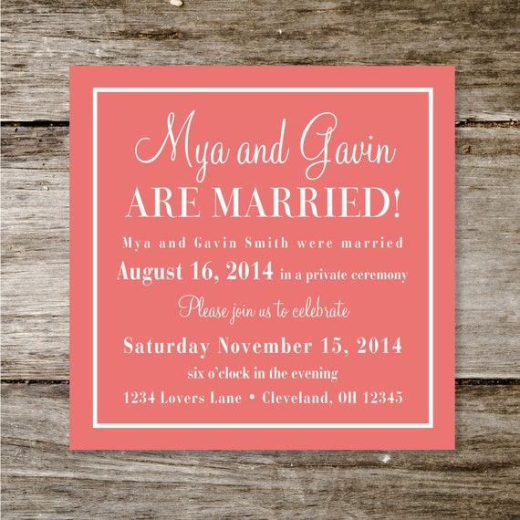 Wedding And Reception Invitations: Check Yes Or No Wedding Announcement/Reception Invite By