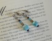 Clip On Blue Gold Swirly Glass Beaded Earrings for unpierced ears