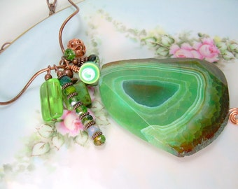 Copper And Gemstone Copper Necklace With A Green Slab Gemstone With Czech Beads