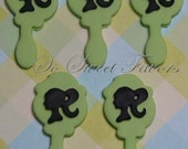 Fondant edible cupcake toppers - Barbie head silhouette lime green hand mirror