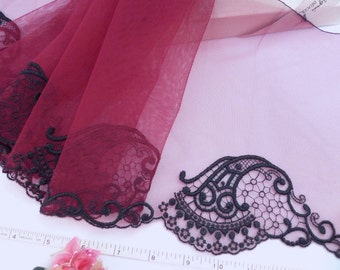 Lace trim, Red lace, Embroidered lace, Embroidered tulle lace, Antique design, Bridal lace, Wedding lace,  2 yards RD178