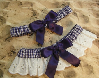 Purple Gingham White Eyelet Lace  Wedding Garter Toss Set