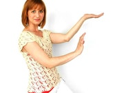 Irene Lace Blouse Top Tee Shirt Hand Knit Ivory Natural Beige Cotton