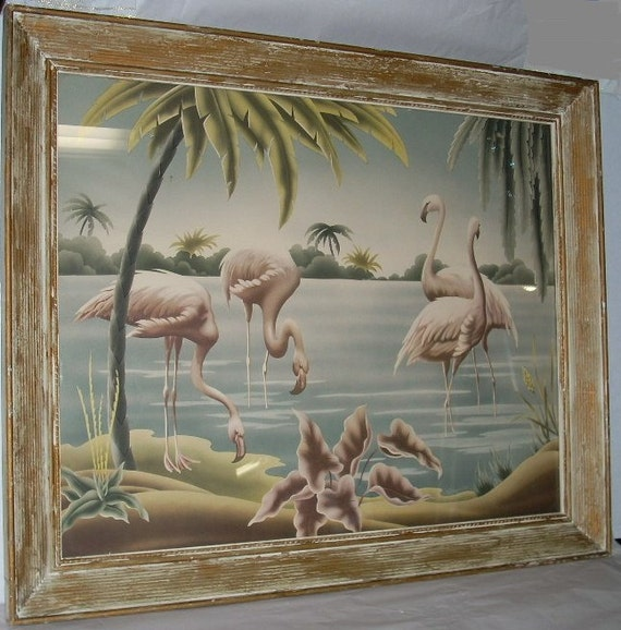 Turner Flamingo Print In Original Frame Art Deco