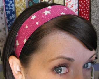 Pink Stay Put Headband w/ Shining White Stars