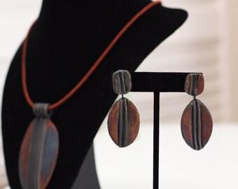 Earthy tribal Rakued dangle earrings