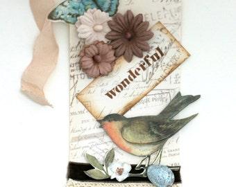 Vintage Shabby Bird Art Tag Handmade  OOAK