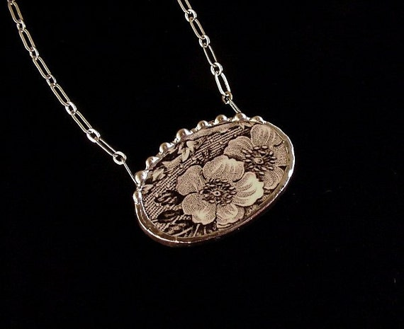 Black floral toile English transferware broken plate broken china jewelry necklace