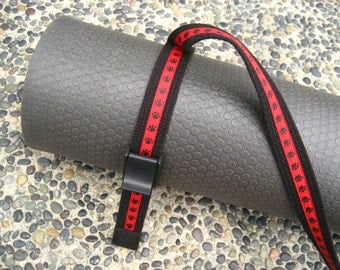 Paw Print YOGA MAT SLING Tote & Yoga Strap in Black Webbing / Red Ribbon -- One Ready to Ship