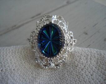 Vintage Heliotrope Blue Starburst Glass Jewel Estate Inspired Silver Adjustable Ring Victorian