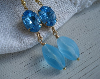 Vintage Aqua Czech Faceted Rhinestone and Frosted Aqua German Glass Gold Dangle Earrings