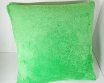 Green plush Pillow cover, solid color, soft travel pillow, toddler size pillow, washable, 14 inch
