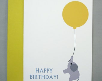 Baby Elephant with Yellow Balloon (Happy Birthday) A2 Folded Card