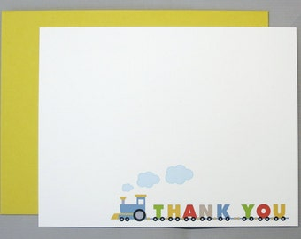 Orange, Green, Blue, Yellow, Khaki Letter Train A2 Thank You Flat Note Cards (Set of 10)