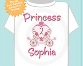 Personalized Pink Princess Carriage Birthday Shirt or Onesie, Princess with Age Shirt for Toddlers and Kids (03122015a)