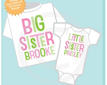 Personalized Set Of 2, Big Sister and Little Sister Shirt and Onesie In Pink and Green Letters (03312015b)