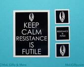 Keep Calm Magnet Set - Star Trek Magnet Set, Resistance is Futile - Geek Magnet Set - Locker Magnets