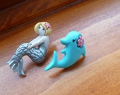 Earrings Mix and Match Collection A Mermaid and her Dolphin Friend fair light skin tone