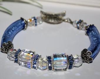 Murano Glass Bracelet, Curved Tube Bracelet, Glass Tube Blue Sapphire, Swarovski Crystal Cube Bracelet, September Birthday Bracelet
