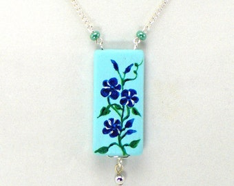Morning Glories Necklace, Hand Painted Pendant, Blue Flower Jewelry