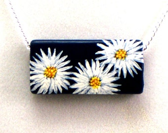 Daisy Necklace, White Gerber Pendant, Hand Painted Boho Jewelry
