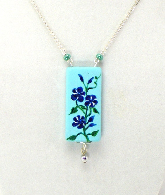 Blue Morning Glories Necklace Flower Necklace Painted Wood Necklace Charming Garden Flower Vines Hand Painted Design Something Blue